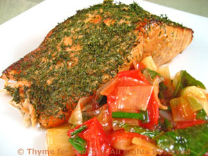 Grilled Salmon with Warm Tomato Leek Salsa