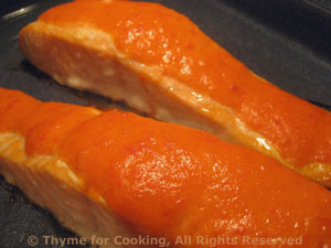 Roasted Salmon with Red Pepper Sauce