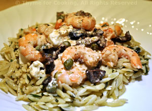 Shrimp with Capers, Lemon, and Feta on Orzo