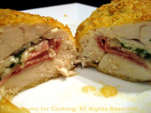 Chicken Breasts Stuffed with Ham, Spinach and Cheese