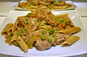 Pasta with Pork, Peas and Peppers