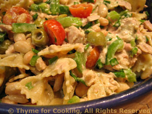 Tuna Cannellini Pasta Salad with Creamy Herb Dressing