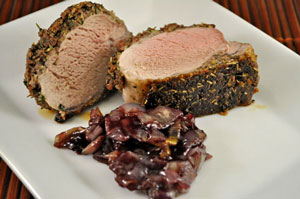 Roasted Pork Tenderloin with Red Wine Shallot Confit
