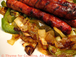 Grilled Sausages with Peppers and Onions