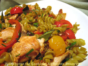Pasta with Chicken, Peppers and Herbs