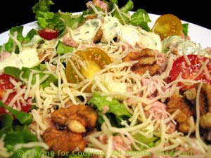 Salad with Creamy Dressing, Tuna, Walnuts and Cheese