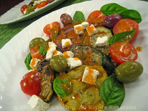 Grilled Zucchini (Courgette) Salad with Feta and Olives