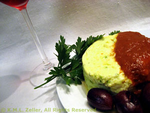 Zucchini (Courgette) Timbales with Pimiento Sauce