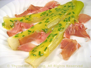 Warm Leek Salad with Prosciutto