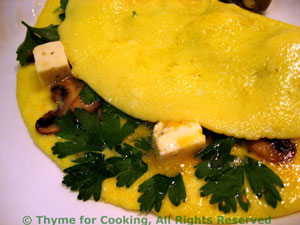 Omelet with Parsley, Mushrooms and Feta