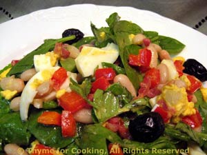Spinach, White Bean and Red Pepper Salad