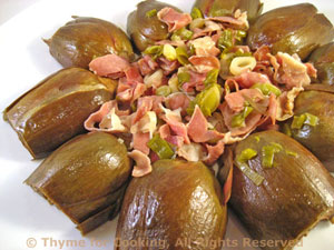 Braised Artichokes with Ham and Green Garlic