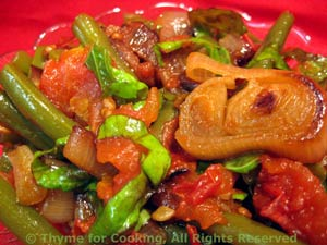 Braised Green Beans with Tomatoes, Shallots and Basil