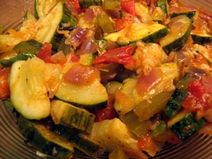 Zucchini (Courgette) with Tomatoes and Onions