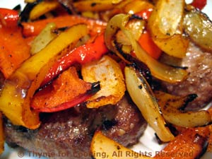 Grilled Burgers with Onion and Pepper