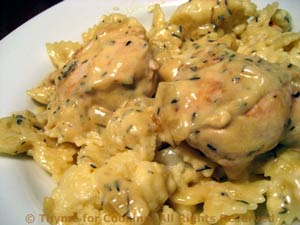 Chicken in Mustard Sauce with Cauliflower and Pasta