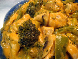 Chicken with Mushrooms, Broccoli and Peppers