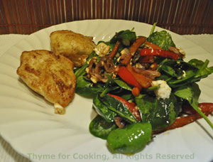 Chicken With Spinach, Red Pepper Salad