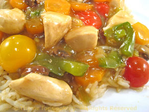 Stir-Fried Chicken with Mushrooms and Cherry Tomatoes