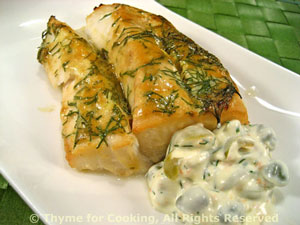 Grilled Cod with Caper, Green Olive Tarter Sauce