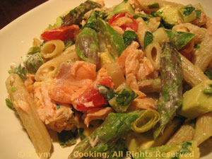 Salmon, Smoked Salmon, Avocado and Asparagus Pasta