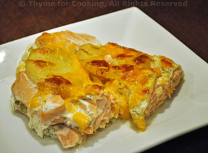 Salmon, Smoked Salmon and Potato Gratin