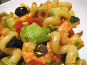 Shrimp, Avocado and Olive Pasta