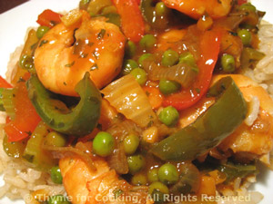 Stir-fried Shrimp with Peppers and Peas