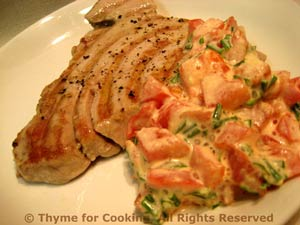 Grilled Tuna with Tomato/Tarragon Mayonnaise