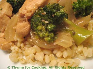 Stir-Fried Chicken and Broccoli with Barley