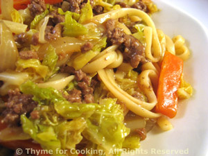 Ground Beef and Savoy Cabbage Lo Mein