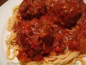 Ginger Meatballs on Spaghetti