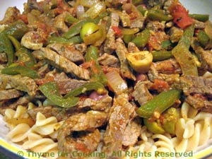 Pasta with Beef and Peppers