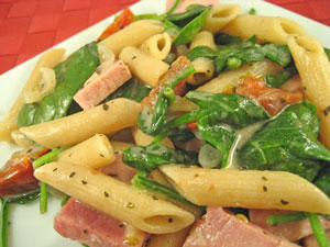 Pasta with Ham, Spinach and Mascarpone