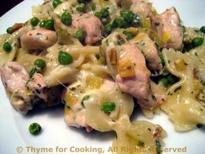 Pasta with Turkey, Peas and Leeks