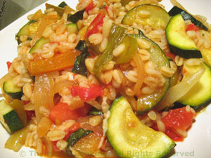 Barley with Zucchini (Courgette) and Tomato