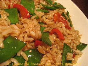 Sesame Brown Rice with Snow Peas