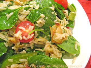 Warm Brown Rice and Spinach Salad