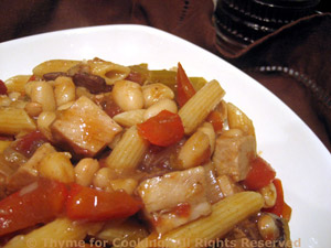 Pasta with Pork, Red Peppers and Cannellini