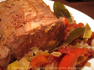 Braised Pork in Red Wine and Red Peppers