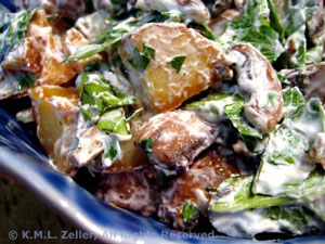 Potato Salad with Mushrooms and Chevre