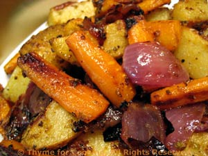Roasted Onions Potatoes And Carrots Thyme For Cooking Easy Side Dish