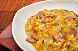 Butternut Squash with Sage and Ham Risotto