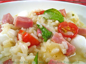 Caprese Risotto with Ham