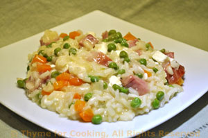 Risotto with Feta, Ham, Peas and Carrots