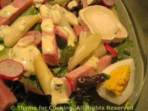 Spring Greens Salad with Asparagus and Ham
