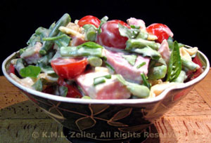 Ham, Green Bean and Cherry Tomato Pasta Salad