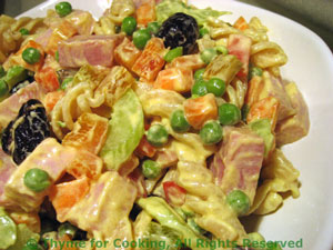 Pasta Salad with Ham, Peas and Celery