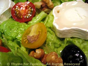 Salad with Chevre (Goat Cheese) and Walnuts