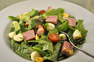 Salad with Ham Mozzarella